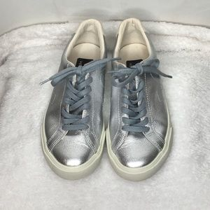 Veja Metallic Silver Sneakers - Size 5